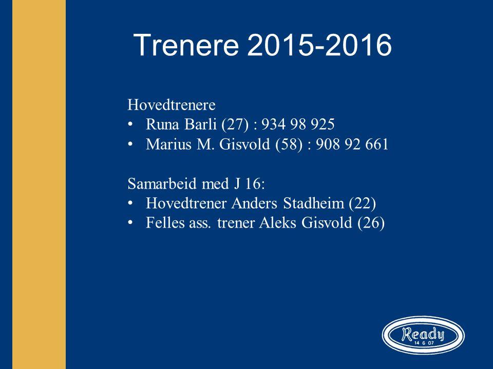 Trenere 2015-2016 Hovedtrenere Runa Barli (27) : 934 98 925 Marius M.