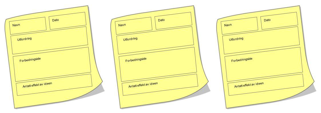 Navn Dato Utfordring Forbedringside Antatt effekt av ideen Navn Dato Utfordring Forbedringside Antatt effekt av ideen Navn Dato Utfordring Forbedringside Antatt effekt av ideen