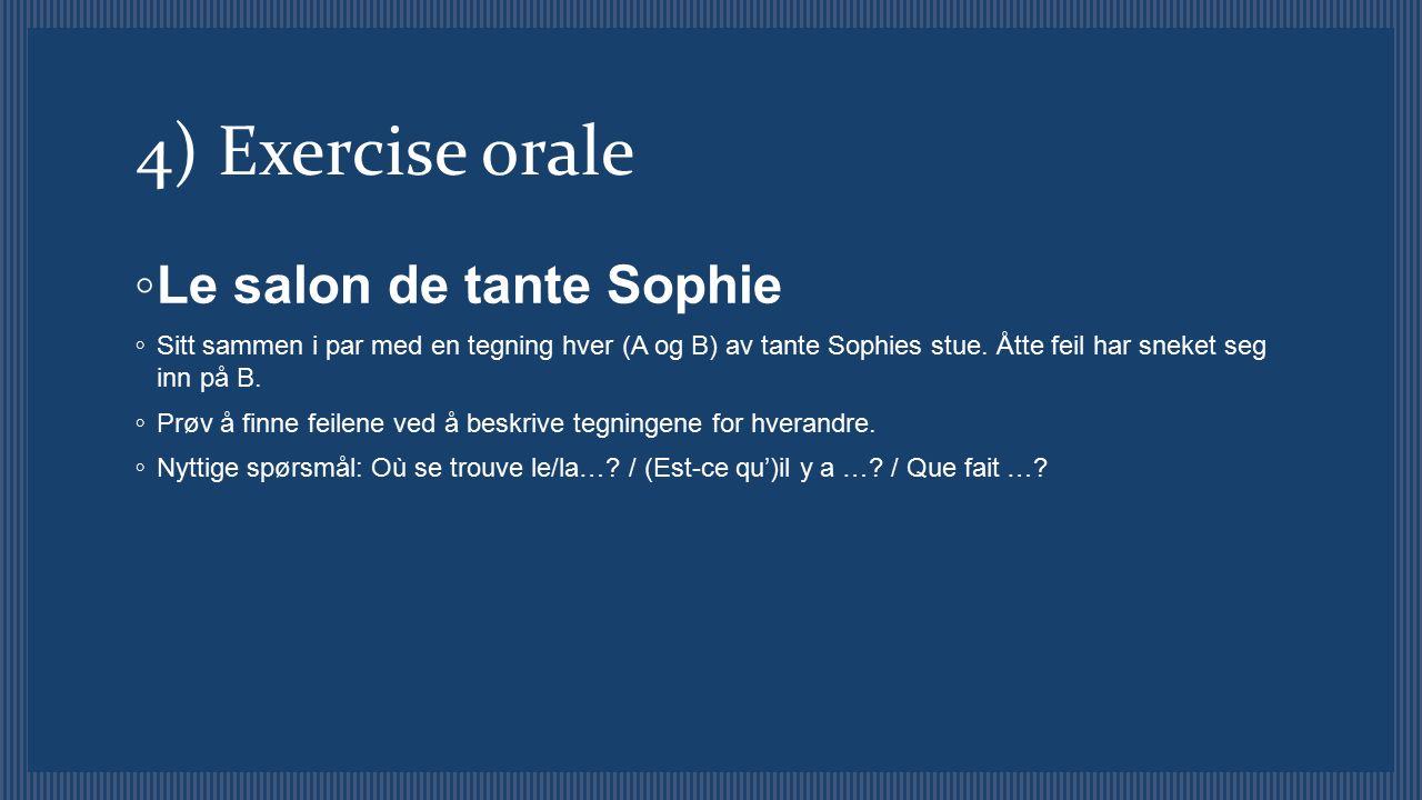 4) Exercise orale ◦ Le salon de tante Sophie ◦ Sitt sammen i par med en tegning hver (A og B) av tante Sophies stue. Åtte feil har sneket seg inn på B