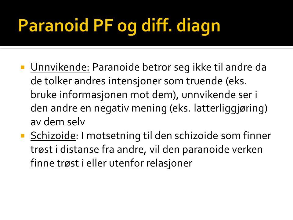  Unnvikende: Paranoide betror seg ikke til andre da de tolker andres intensjoner som truende (eks.