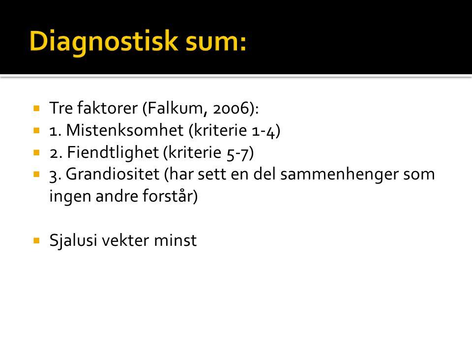  Tre faktorer (Falkum, 2006):  1. Mistenksomhet (kriterie 1-4)  2.
