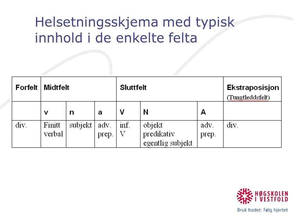 Helsetningsskjema med typisk innhold i de enkelte felta
