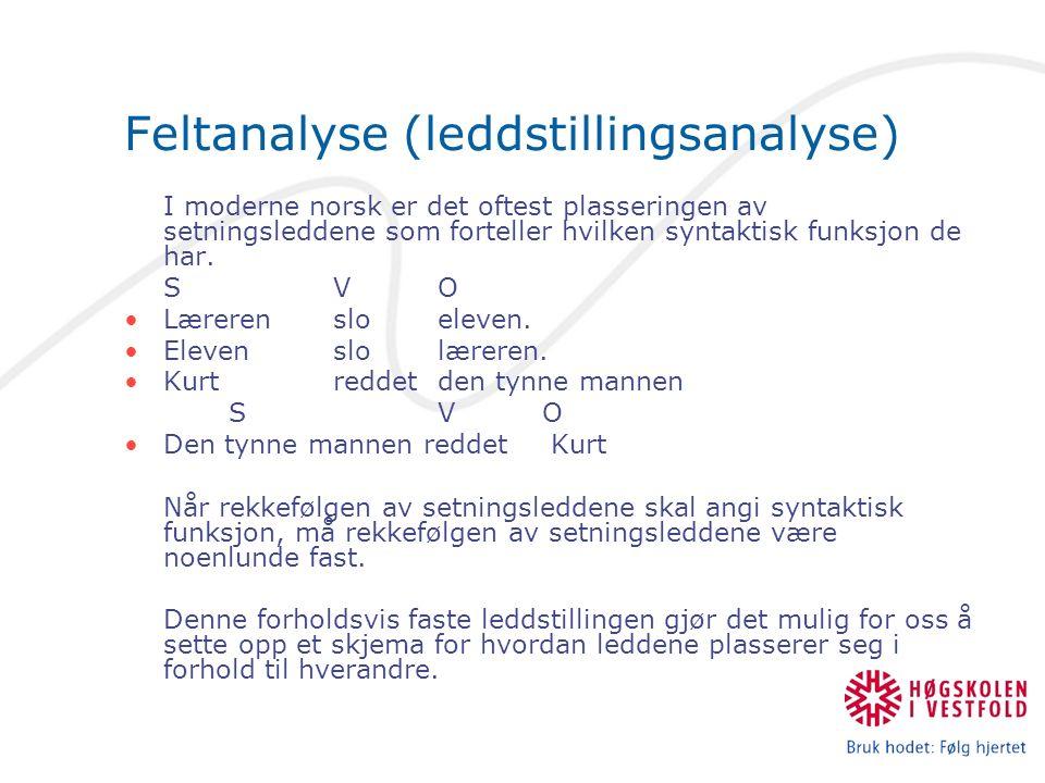 Feltskjema – Helsetningsskjema F – forfelt v/V – verbal n/N – nominal a/A – adverbial