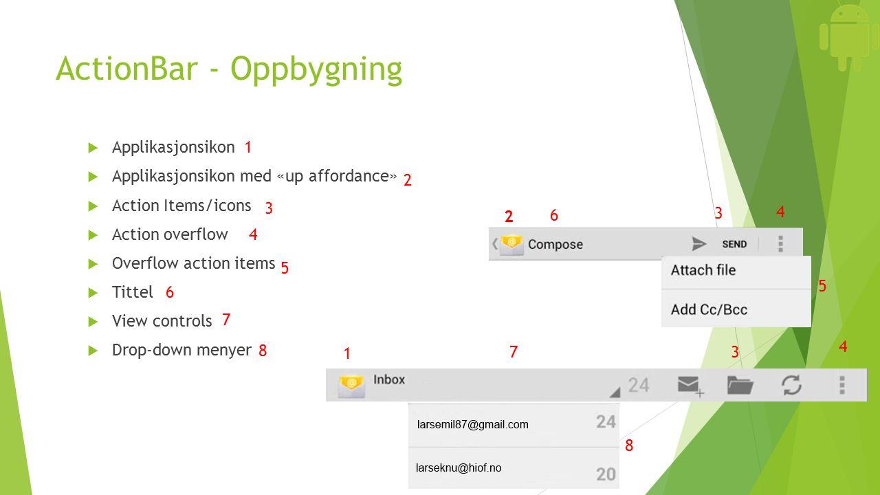 ActionBar - Oppbygning  Applikasjonsikon  Applikasjonsikon med «up affordance»  Action Items/icons  Action overflow  Overflow action items  Tittel  View controls  Drop-down menyer 1 1 2 2 3 3 3 4 4 4 5 5 6 6 7 7 8 8