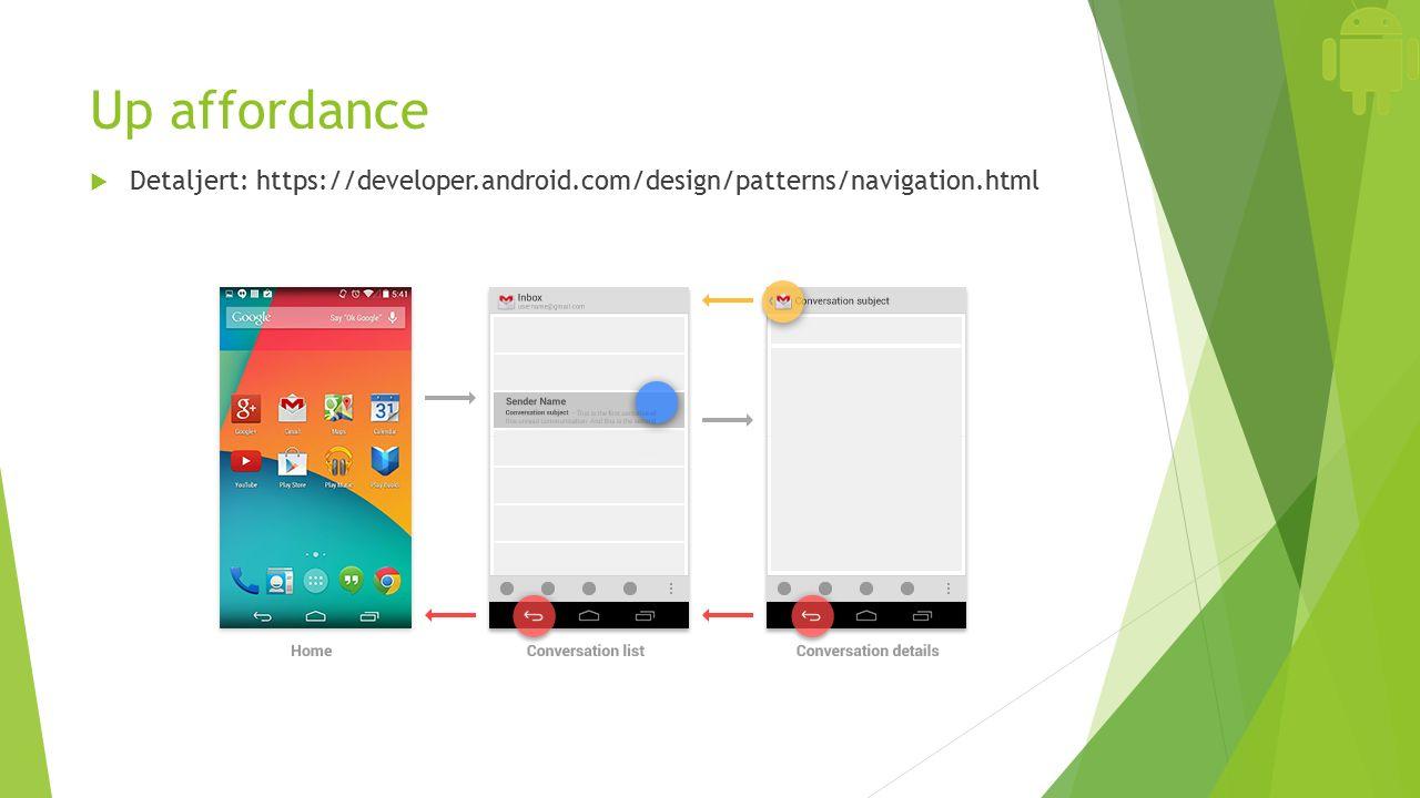 Up affordance  Detaljert: https://developer.android.com/design/patterns/navigation.html