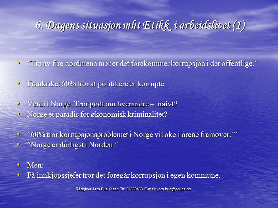 Rådgiver Jørn Bue Olsen Tlf: 91639463 E-mail: jorn.bud@online.no 17.Organisasjonskulturens 2 nivåer: 1.Indre verdier – 2.det ytre 1.Kulturens - indre verdier (det vi ikke ser); Felles verdier, oppfatninger, forestillinger, holdninger, antagelser (om virkelighet, menneskenatur osv.) NB: Dette styrer vår adferd og handlinger i rollen Eks.1: Fellesskapskulturen; Viktigste praktiserte verdi : Livskvalitet, etikk (?) Eks.2: Markedskulturens dominerende hovedverdi: lønnsomhet (se forrige ark) Størst utfordring: Hvordan bygge ut de indre verdier.