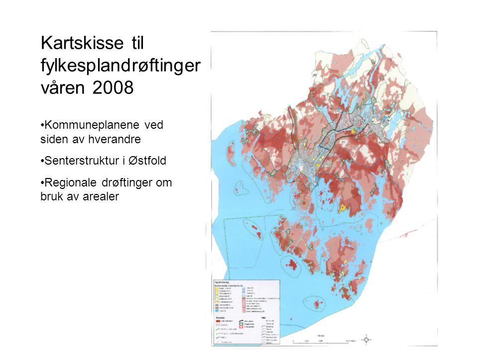 Kartskisse til fylkesplandrøftinger våren 2008 Kommuneplanene ved siden av hverandre Senterstruktur i Østfold Regionale drøftinger om bruk av arealer