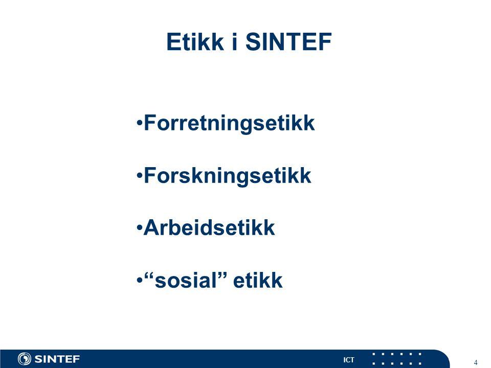 ICT 4 Etikk i SINTEF Forretningsetikk Forskningsetikk Arbeidsetikk sosial etikk
