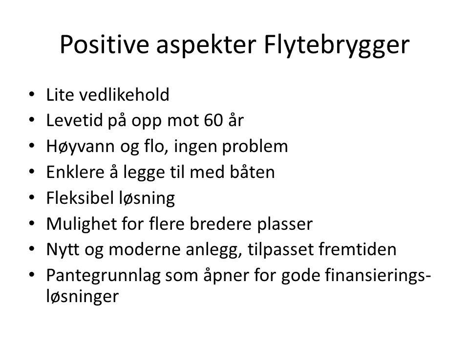 Positive aspekter Flytebrygger Lite vedlikehold Levetid på opp mot 60 år Høyvann og flo, ingen problem Enklere å legge til med båten Fleksibel løsning
