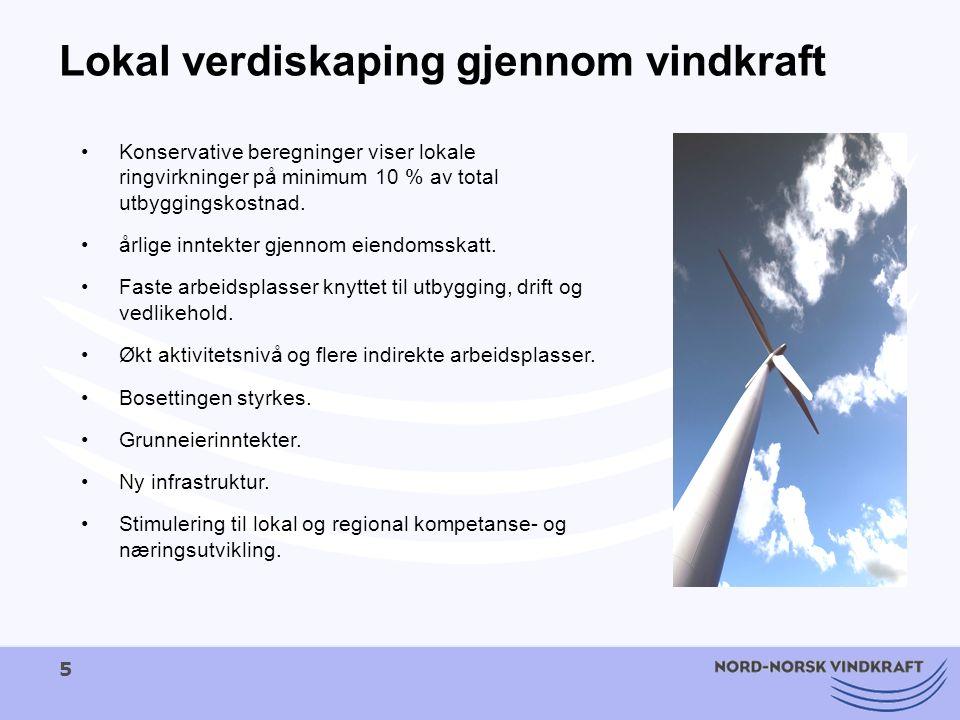 5 Lokal verdiskaping gjennom vindkraft Konservative beregninger viser lokale ringvirkninger på minimum 10 % av total utbyggingskostnad. årlige inntekt