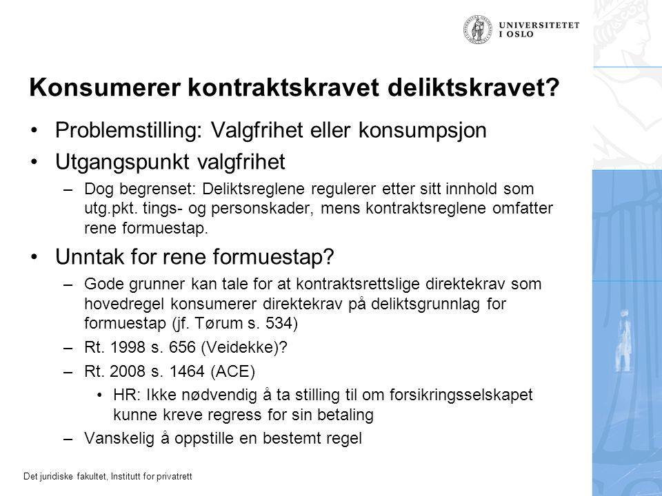 Det juridiske fakultet, Institutt for privatrett Konsumerer kontraktskravet deliktskravet.