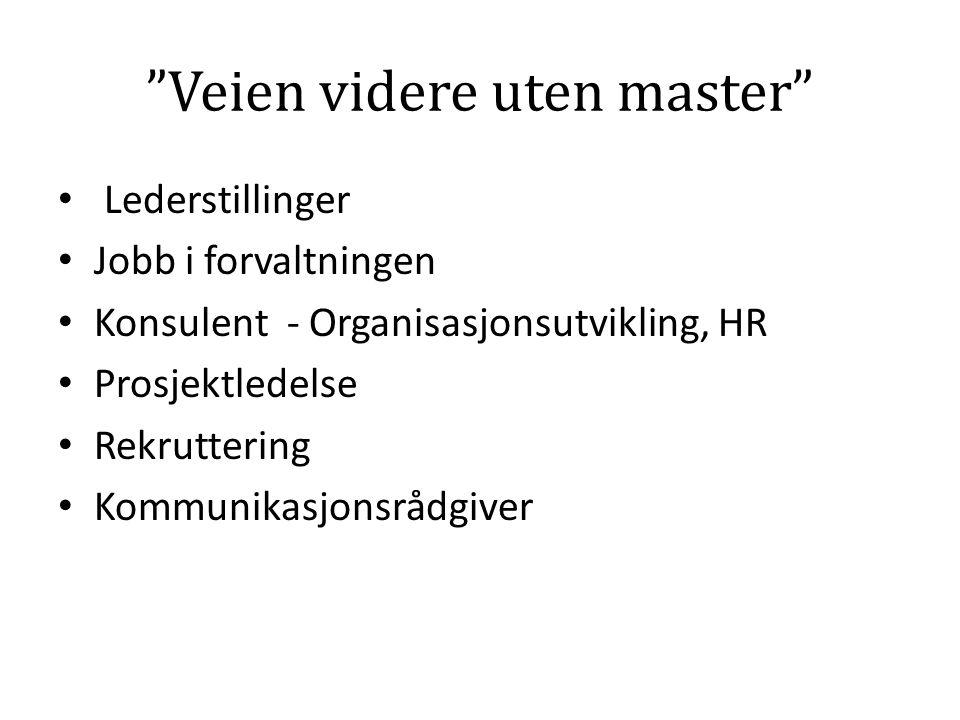 Veien videre uten master Lederstillinger Jobb i forvaltningen Konsulent - Organisasjonsutvikling, HR Prosjektledelse Rekruttering Kommunikasjonsrådgiver