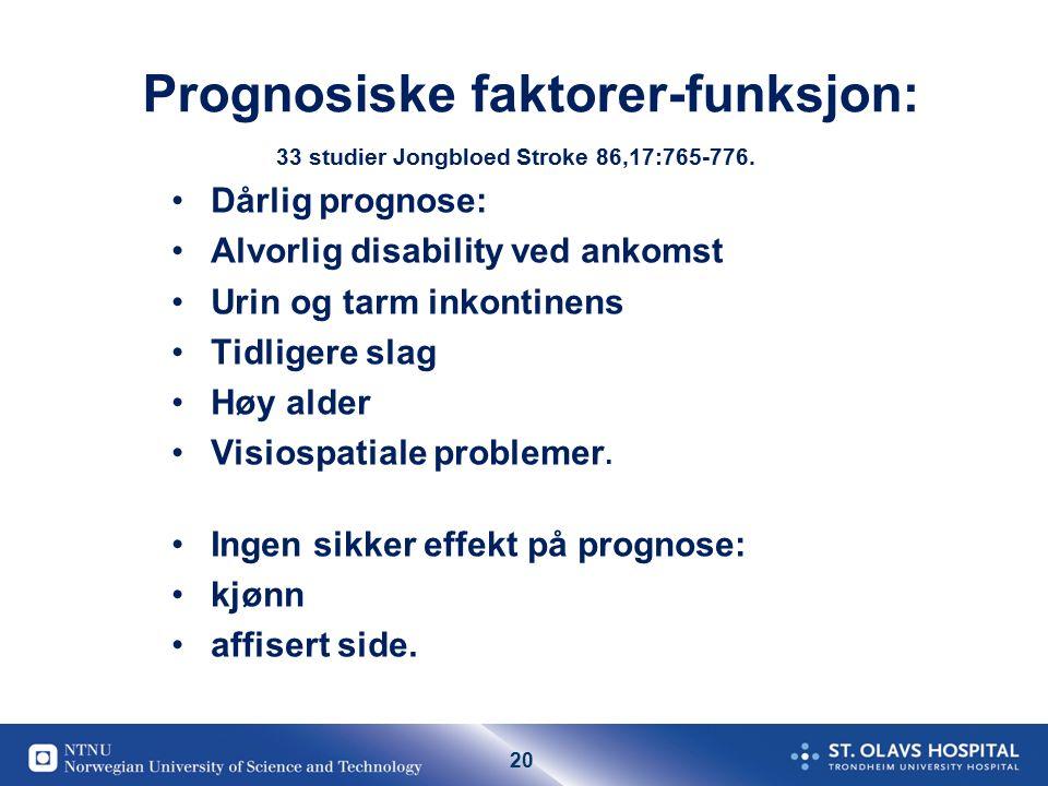 20 Prognosiske faktorer-funksjon: 33 studier Jongbloed Stroke 86,17:765-776.