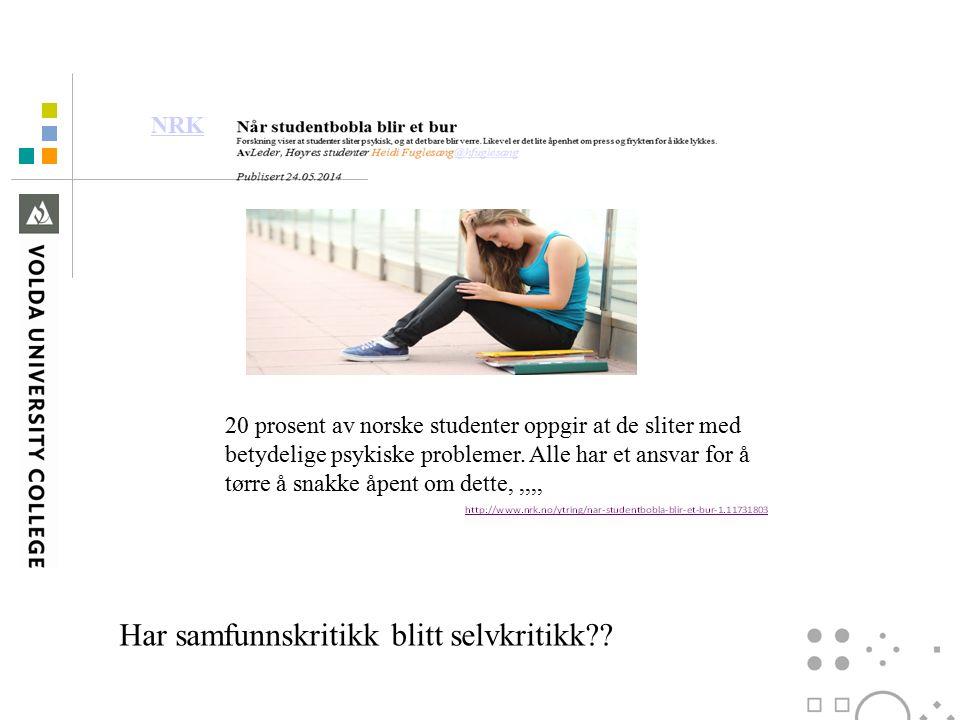 NRK 20 prosent av norske studenter oppgir at de sliter med betydelige psykiske problemer.