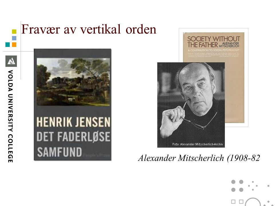 Fravær av vertikal orden Alexander Mitscherlich (1908-82
