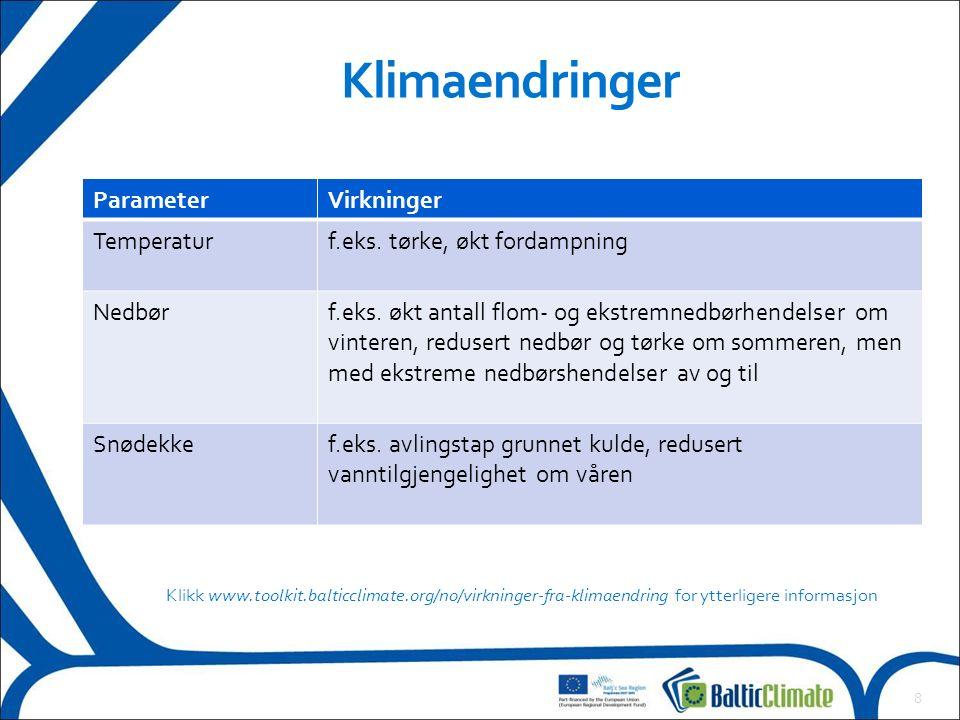 8 Klimaendringer ParameterVirkninger Temperaturf.eks. tørke, økt fordampning Nedbørf.eks. økt antall flom- og ekstremnedbørhendelser om vinteren, redu