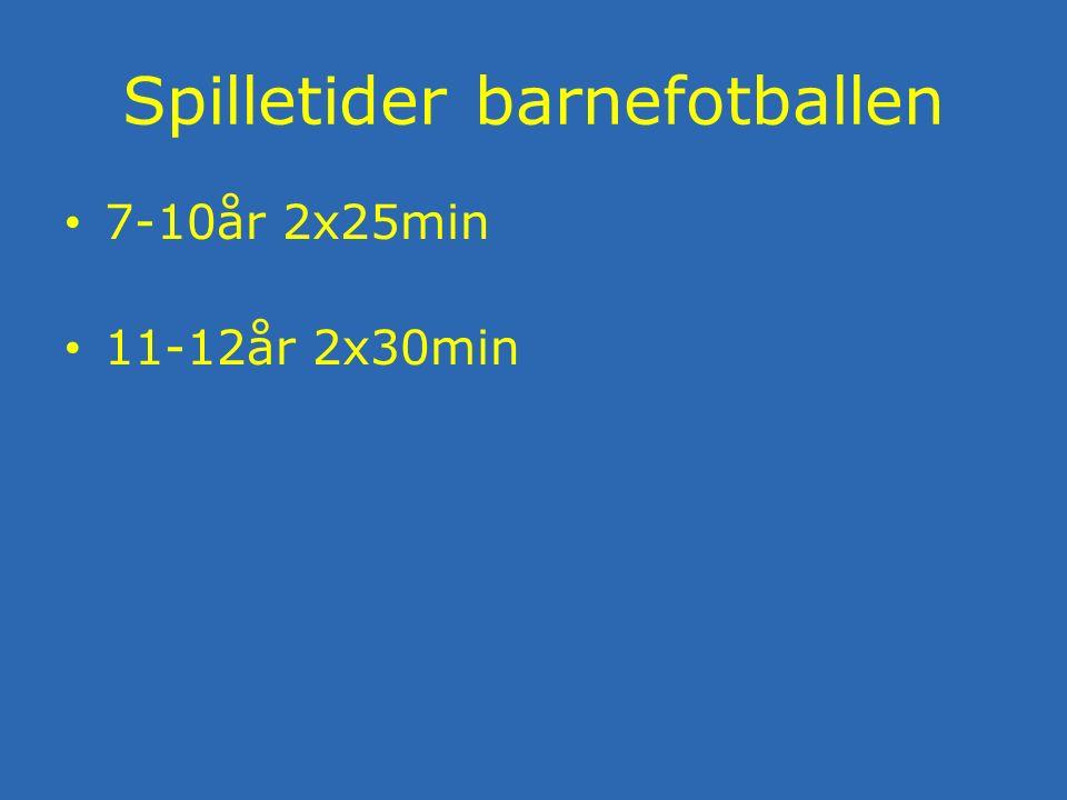 Spilletider barnefotballen 7-10år 2x25min 11-12år 2x30min