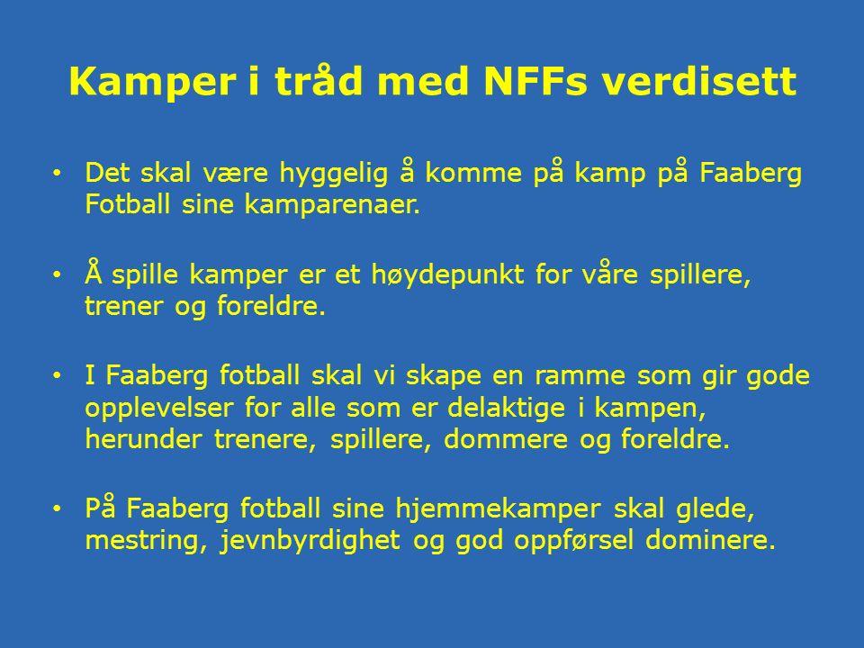 Kamper i tråd med NFFs verdisett Det skal være hyggelig å komme på kamp på Faaberg Fotball sine kamparenaer.