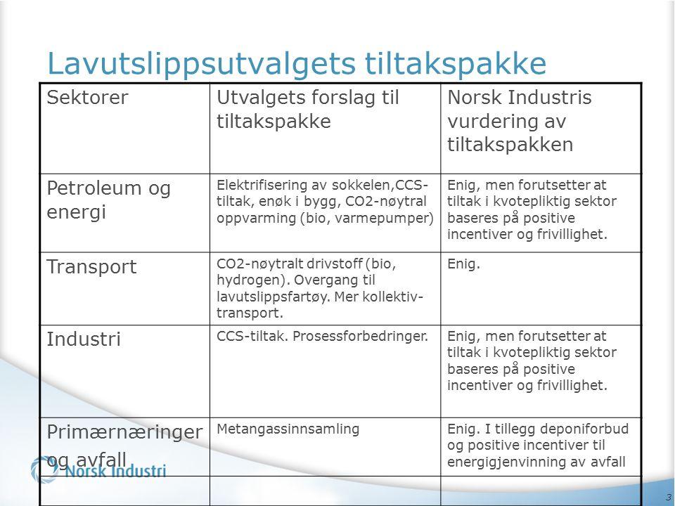 3 Lavutslippsutvalgets tiltakspakke Sektorer Utvalgets forslag til tiltakspakke Norsk Industris vurdering av tiltakspakken Petroleum og energi Elektri