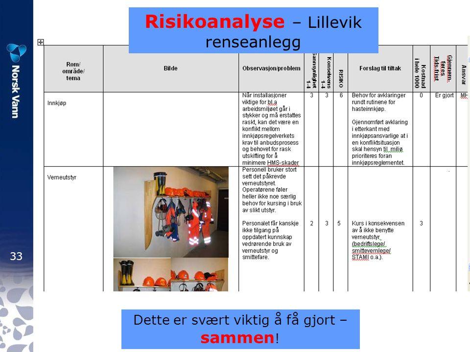 33 Risikoanalyse – Lillevik renseanlegg Dette er svært viktig å få gjort – sammen !
