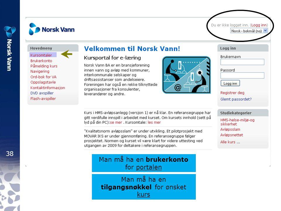 38 Man må ha en brukerkonto for portalen Man må ha en tilgangsnøkkel for ønsket kurs