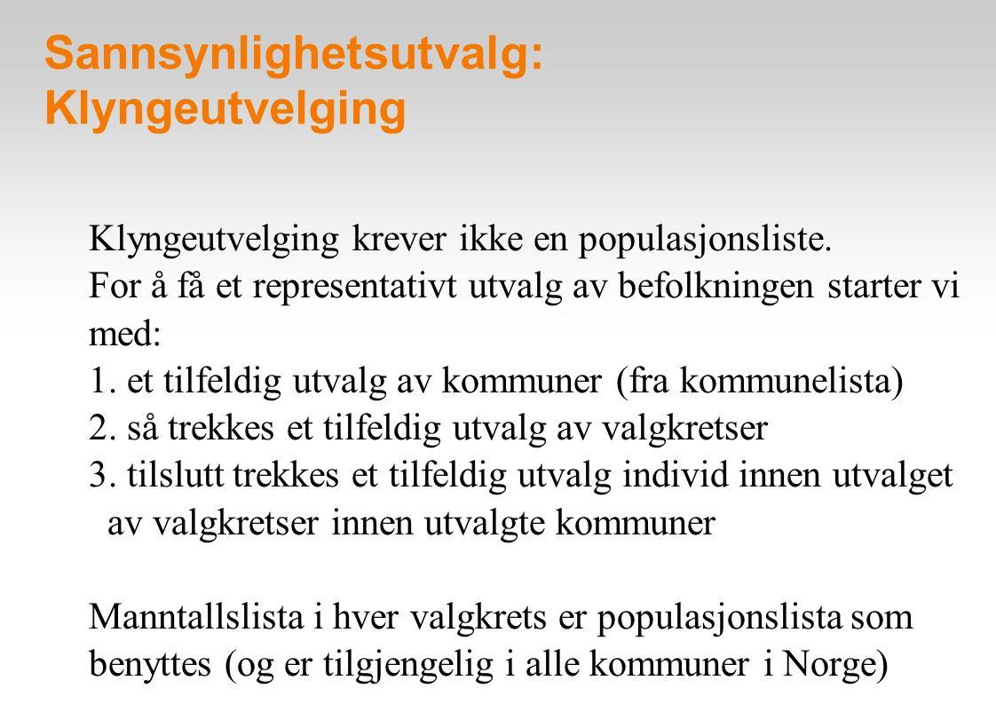 Sannsynlighetsutvalg: Klyngeutvelging Klyngeutvelging krever ikke en populasjonsliste.