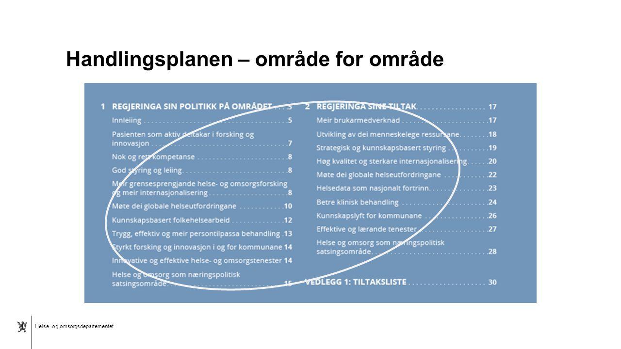 Helse- og omsorgsdepartementet Norsk mal: To innholdsdeler - Sammenlikning Kunnskapsløft for kommunene Legge til rette for mer forskning om kommunale helse- og omsorgstjenester Kommunene skal i større grad medvirke til og legge til rette for forskning og innovasjon i samarbeid med forskningsmiljø Videreføre satsningen på velferdsteknologi Styrke kunnskapssystemene for kommunale helse- og omsorgstjenester Legge til rette for mer effekt- og implementeringsforskning slik at gode tjenesteinnovasjoner og teknologiske løsninger kan skaleres opp Utarbeide en forskningsstrategi for tannhelsefeltet Tiltak Bygge et kunnskapssystem for forskning rettet mot de kommunale tjenestene Gi nasjonale og regionale kompetansesentre utenfor spesialisthelsetjenesten et samfunnsoppdrag om forskning og kunnskapsstøtte Etablere et kommunalt pasient- og brukerregister Nytt program i Forskningsrådet, BedreHelse, som skal styrke kunnskapen om folkehelse i kommunene