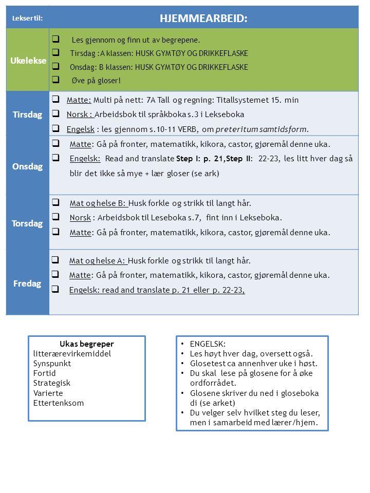 Lekser til: HJEMMEARBEID: Ukelekse  Les gjennom og finn ut av begrepene.