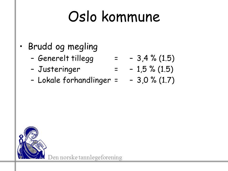 Den norske tannlegeforening Oslo kommune Brudd og megling –Generelt tillegg= –Justeringer= –Lokale forhandlinger= –3,4 % (1.5) –1,5 % (1.5) –3,0 % (1.