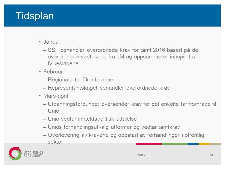 Tidsplan Tariff 2016s4 Januar: –SST behandler overordnede krav for tariff 2016 basert på de overordnede vedtakene fra LM og oppsummerer innspill fra f