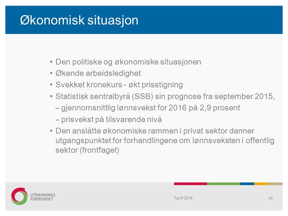 Tariff 2016s9 Økonomisk situasjon Den politiske og økonomiske situasjonen Økende arbeidsledighet Svekket kronekurs - økt prisstigning Statistisk sentr