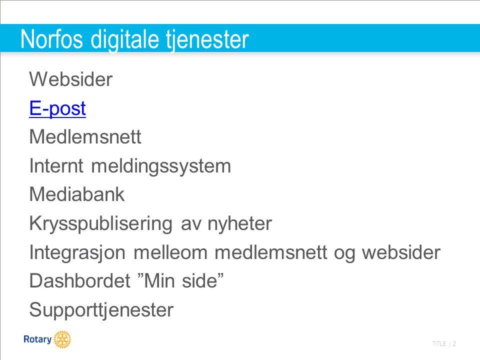 TITLE | 2 Norfos digitale tjenester Websider E-post Medlemsnett Internt meldingssystem Mediabank Krysspublisering av nyheter Integrasjon melleom medlemsnett og websider Dashbordet Min side Supporttjenester