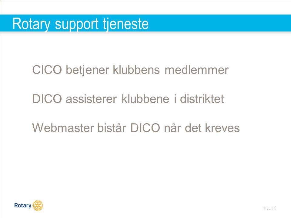 TITLE | 9 Rotary support tjeneste CICO betjener klubbens medlemmer DICO assisterer klubbene i distriktet Webmaster bistår DICO når det kreves
