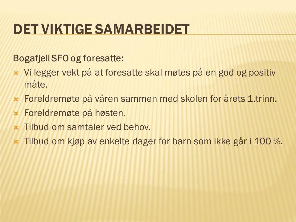 DET VIKTIGE SAMARBEIDET Bogafjell SFO og foresatte:  Vi legger vekt på at foresatte skal møtes på en god og positiv måte.