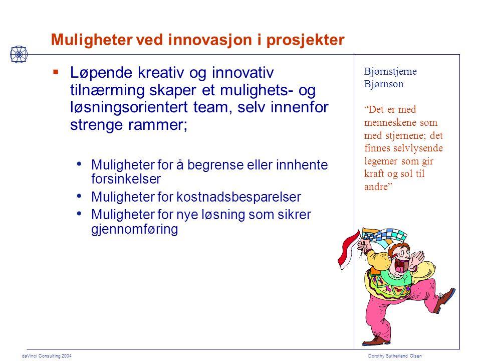 daVinci Consulting 2004 Dorothy Sutherland Olsen Muligheter ved innovasjon i prosjekter  Løpende kreativ og innovativ tilnærming skaper et mulighets-