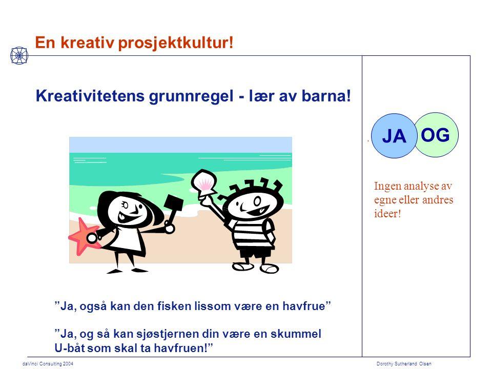 """daVinci Consulting 2004 Dorothy Sutherland Olsen Kreativitetens grunnregel - lær av barna! """"Ja, også kan den fisken lissom være en havfrue"""" """"Ja, og så"""