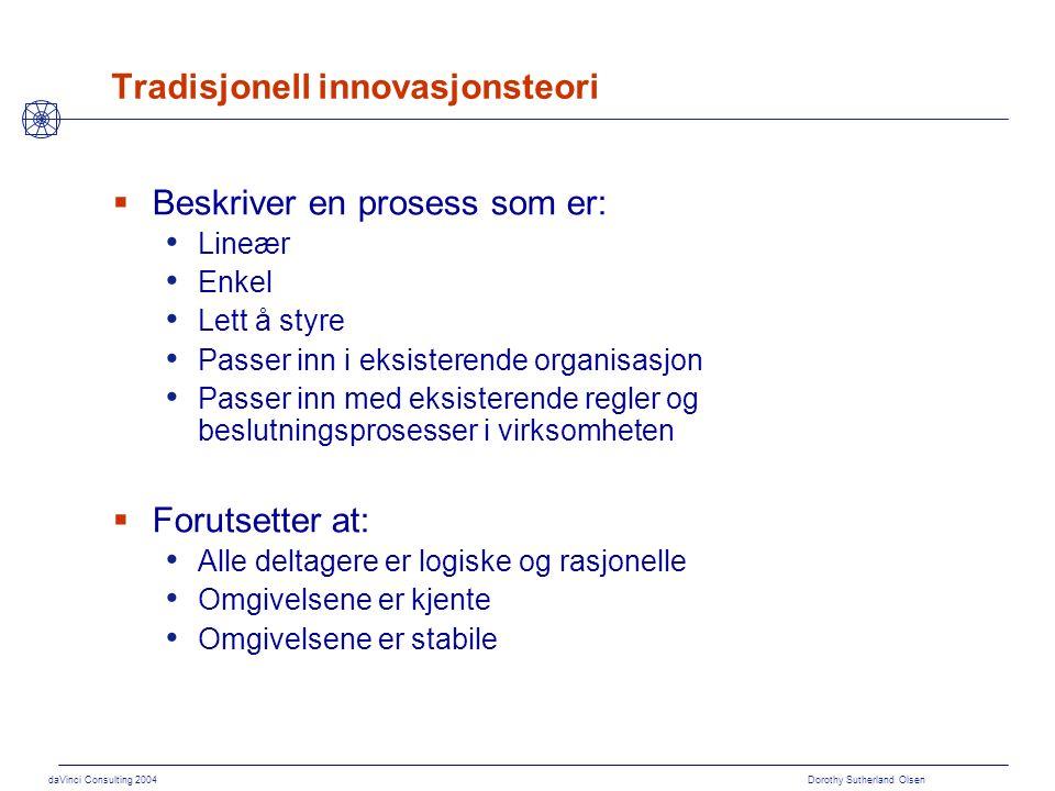 daVinci Consulting 2004 Dorothy Sutherland Olsen Tradisjonell innovasjonsteori  Beskriver en prosess som er: Lineær Enkel Lett å styre Passer inn i e