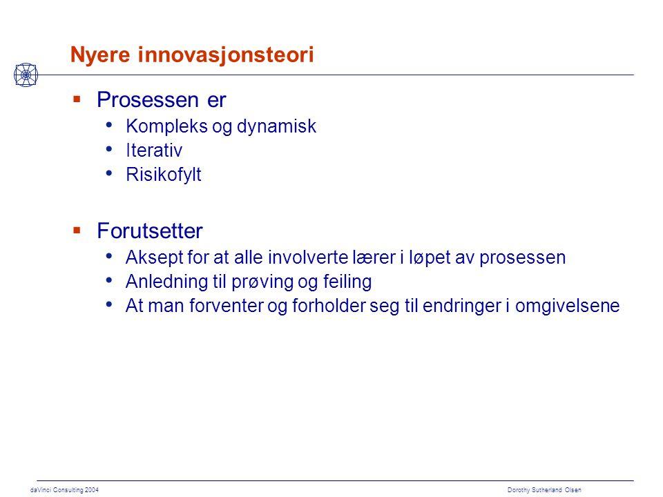daVinci Consulting 2004 Dorothy Sutherland Olsen Hvor hører innovasjon hjemme i prosjektet Tid Innovasjonsgrad