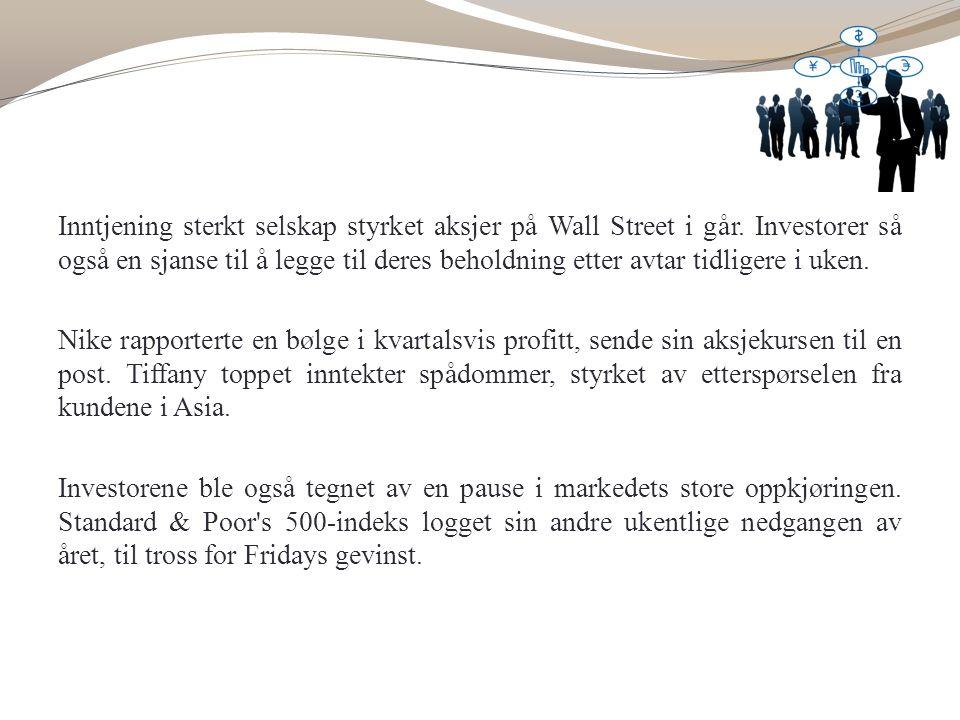 Inntjening sterkt selskap styrket aksjer på Wall Street i går.