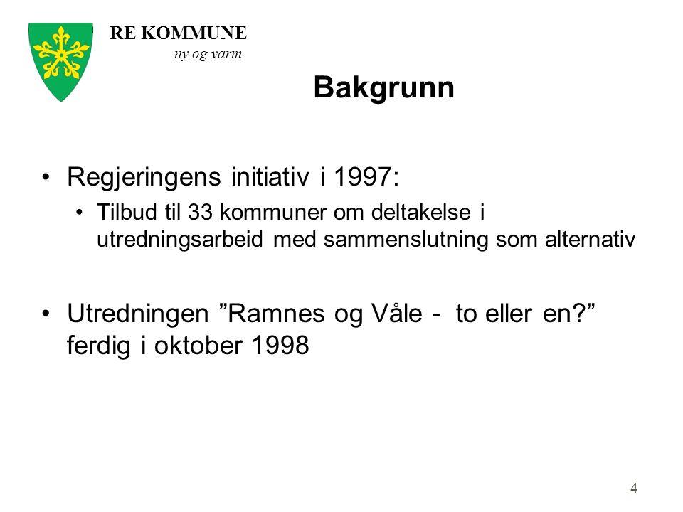 RE KOMMUNE ny og varm 4 Bakgrunn Regjeringens initiativ i 1997: Tilbud til 33 kommuner om deltakelse i utredningsarbeid med sammenslutning som alterna