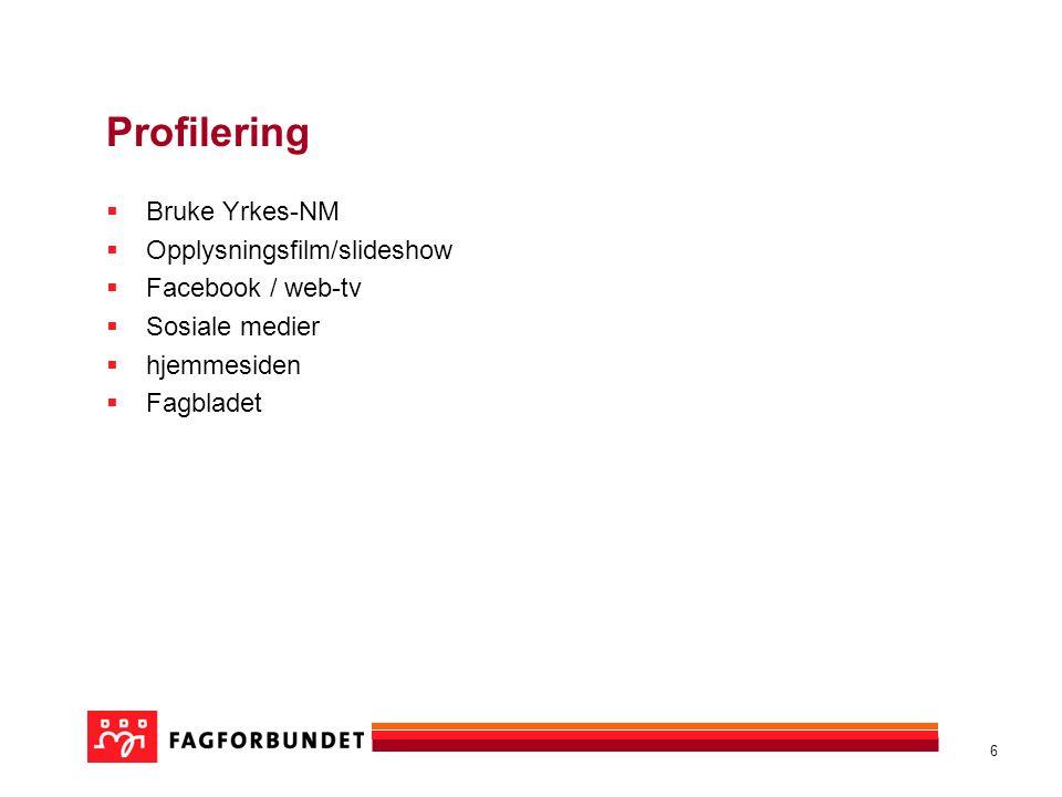 6 Profilering  Bruke Yrkes-NM  Opplysningsfilm/slideshow  Facebook / web-tv  Sosiale medier  hjemmesiden  Fagbladet