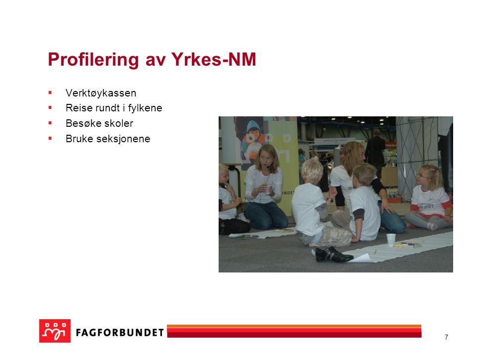 7 Profilering av Yrkes-NM  Verktøykassen  Reise rundt i fylkene  Besøke skoler  Bruke seksjonene