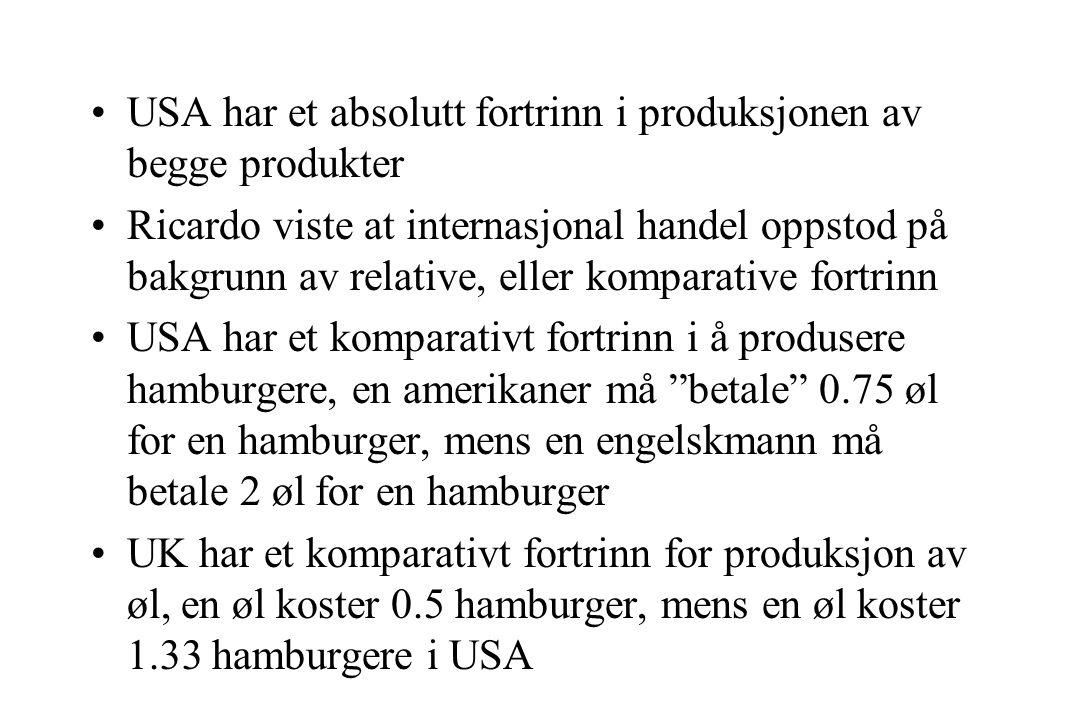 USA har et absolutt fortrinn i produksjonen av begge produkter Ricardo viste at internasjonal handel oppstod på bakgrunn av relative, eller komparative fortrinn USA har et komparativt fortrinn i å produsere hamburgere, en amerikaner må betale 0.75 øl for en hamburger, mens en engelskmann må betale 2 øl for en hamburger UK har et komparativt fortrinn for produksjon av øl, en øl koster 0.5 hamburger, mens en øl koster 1.33 hamburgere i USA