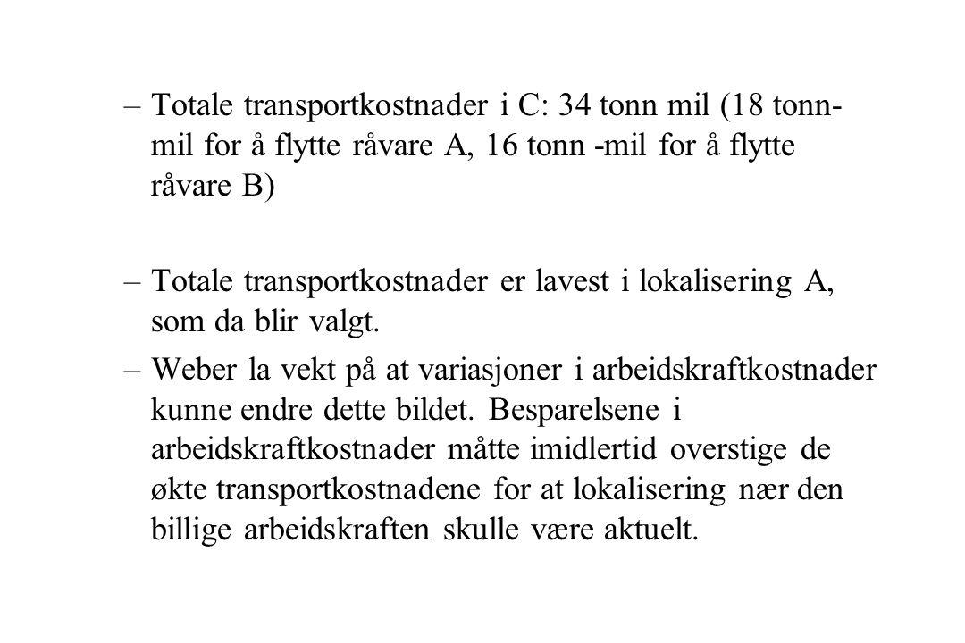 –Totale transportkostnader i C: 34 tonn mil (18 tonn- mil for å flytte råvare A, 16 tonn -mil for å flytte råvare B) –Totale transportkostnader er lavest i lokalisering A, som da blir valgt.