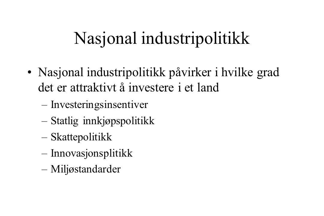 Nasjonal industripolitikk Nasjonal industripolitikk påvirker i hvilke grad det er attraktivt å investere i et land –Investeringsinsentiver –Statlig innkjøpspolitikk –Skattepolitikk –Innovasjonsplitikk –Miljøstandarder