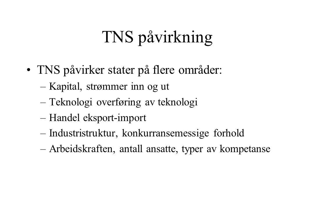 TNS påvirkning TNS påvirker stater på flere områder: –Kapital, strømmer inn og ut –Teknologi overføring av teknologi –Handel eksport-import –Industristruktur, konkurransemessige forhold –Arbeidskraften, antall ansatte, typer av kompetanse