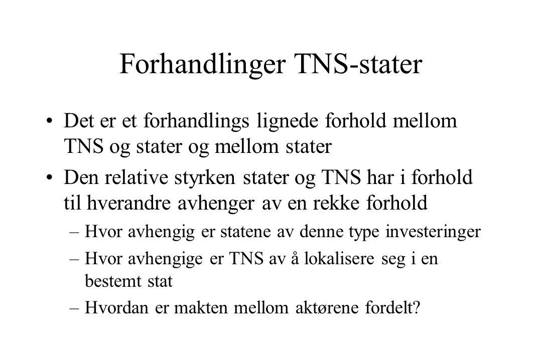 Forhandlinger TNS-stater Det er et forhandlings lignede forhold mellom TNS og stater og mellom stater Den relative styrken stater og TNS har i forhold til hverandre avhenger av en rekke forhold –Hvor avhengig er statene av denne type investeringer –Hvor avhengige er TNS av å lokalisere seg i en bestemt stat –Hvordan er makten mellom aktørene fordelt?