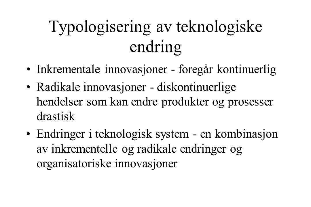 Typologisering av teknologiske endring Inkrementale innovasjoner - foregår kontinuerlig Radikale innovasjoner - diskontinuerlige hendelser som kan endre produkter og prosesser drastisk Endringer i teknologisk system - en kombinasjon av inkrementelle og radikale endringer og organisatoriske innovasjoner