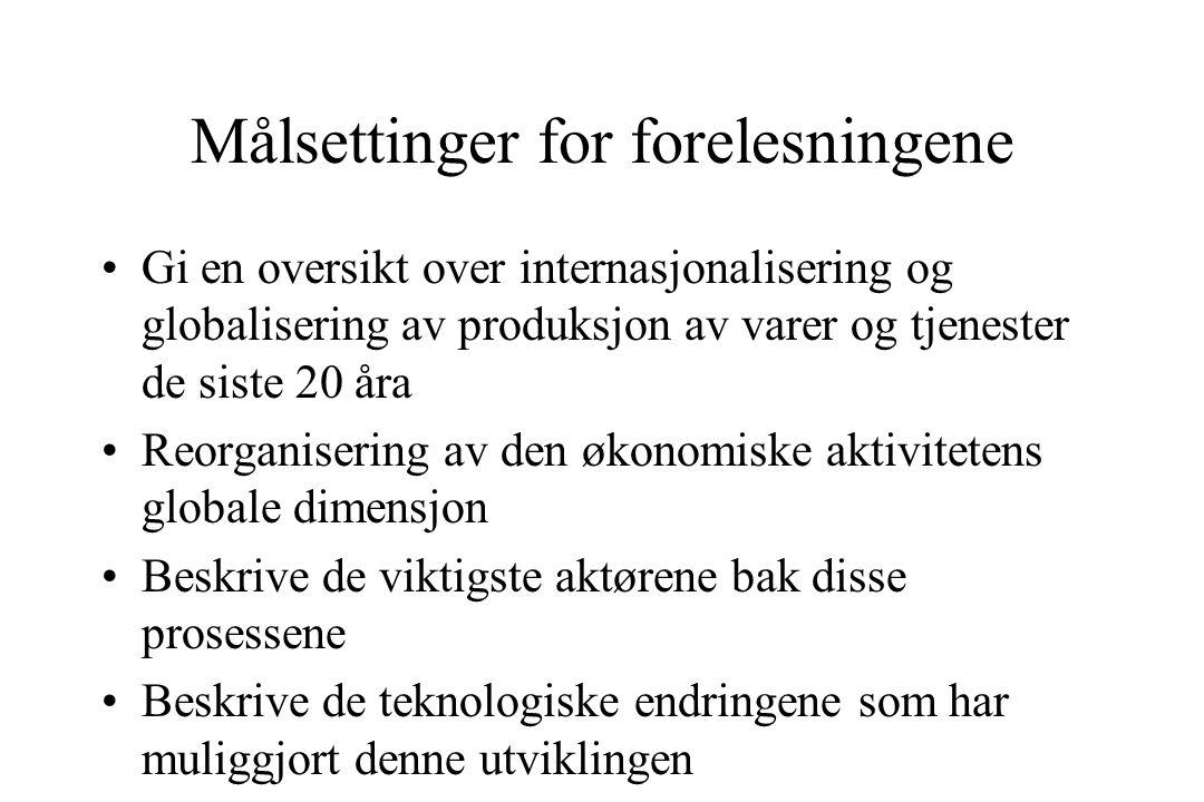 En norsk posisjon Prinsipper for Bondevik regjeringen i forhold til globalisering: –Styrke internasjonalt samarbeid regionalt og globalt –Styrke nasjonale myndigheters evne til å utnytte globaliseringens muligheter –Stimulere til samfunnsansvar og frivillig innsats