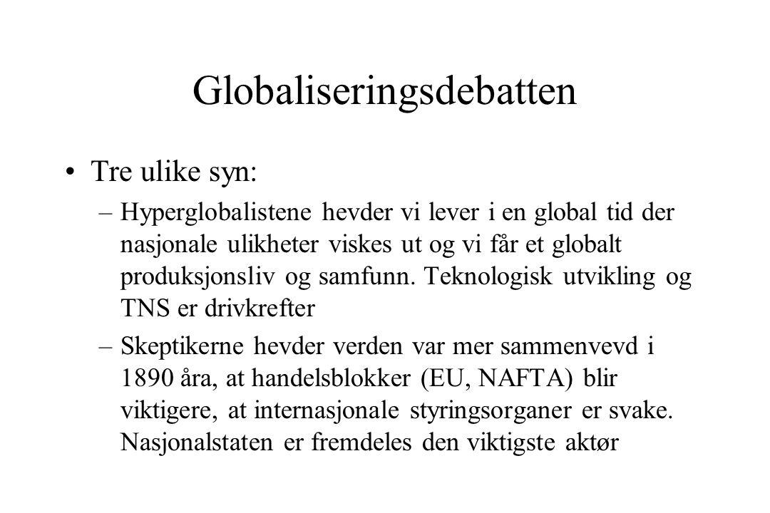Globaliseringsdebatten Tre ulike syn: –Hyperglobalistene hevder vi lever i en global tid der nasjonale ulikheter viskes ut og vi får et globalt produksjonsliv og samfunn.